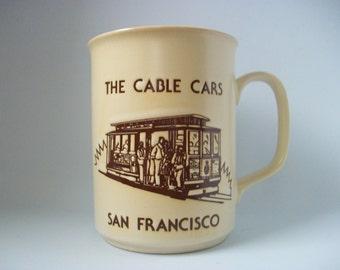 San Francisco Mug The Cable Cars, Vintage Coffee Tea Cup with Beige Peach Colors, 1986 SF California Trolley Landmark