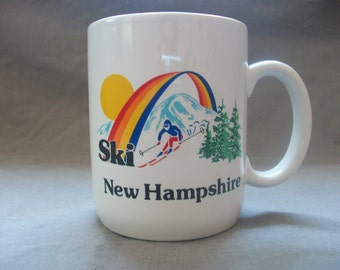 Ski New Hampshire Coffee Tea Mug, NH Skier Snow Skiing Mountain Slopes Rainbow Cup