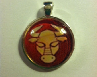 Recycled Zodiac Photo in glass pendant-TAURUS