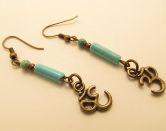 3866  - Om charm and turquoise Earrings
