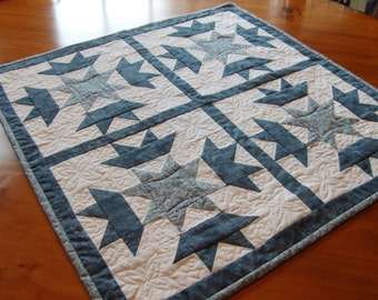 Patchwork quilt done in shades of blue plus white. Each Star and Crown block has 62 pieces each.The batting is cotton and is machine quilted