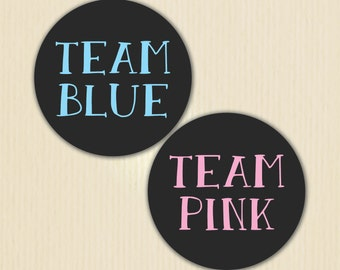 Gender Reveal Party Sticker, CHALKBOARD Baby Shower, Team Blue, Team Pink, Girl or Boy, He or She, Pink or Blue, Team Boy, Team Girl