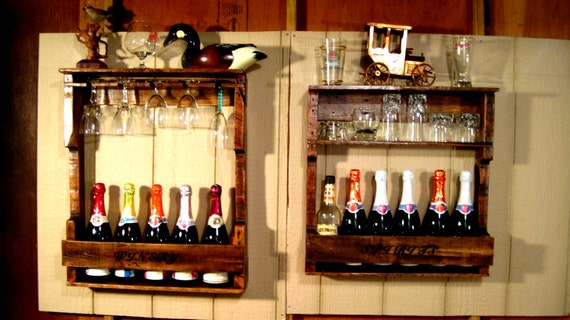 items similar to wood wine liquor home mini bar pallet rack shelf rustic reclaimed. Black Bedroom Furniture Sets. Home Design Ideas