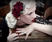 Red velvet Rose Roses hair flower Rockabilly Pin Up Burlesque Birdcage veil fascinator headpiece