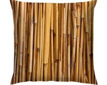 "Brown Bamboo Texture Cushion/Pillow 18"""