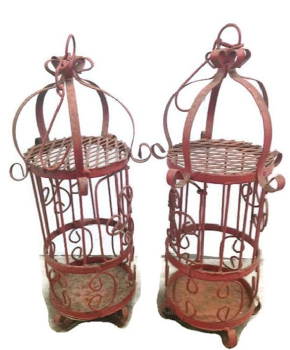 Antique Red Hanging Candle holder / Bird Cage by ...