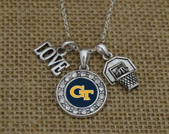 Georgia Tech Yellow Jackets 3 Charm Basketball Necklace