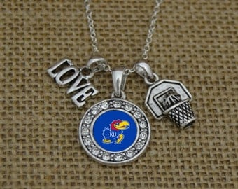 Kansas Jayhawks 3 Charm Basketball Necklace