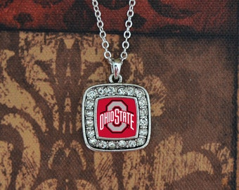 Ohio State Buckeyes Square Necklace
