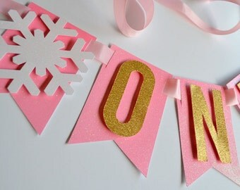 Pink and Gold Glitter Snowflake Highchair Banner, Bunting for 1st Brithday