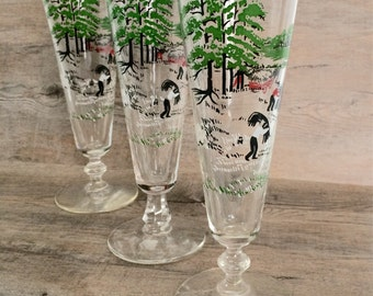 Vintage Working Farm Scene Pilsner Glasses - Set of three