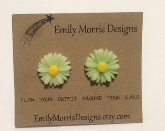 Lime Green Daisy Earrings
