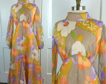 60s Maxi Dress Floral Long Sleeve Flower Power High Slit S/M
