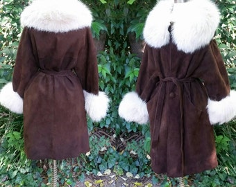 50s Suede Leather Brown and White Fox Fur Belted Coat L