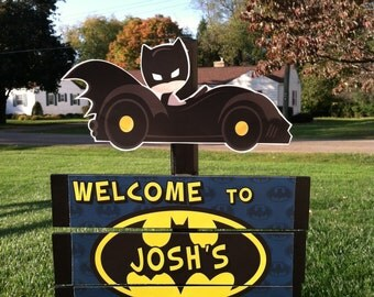 Superhero Batman Batcave Blue Birthday Yard Sign