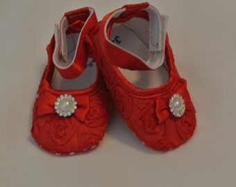 Baby Girl  Red Satin Rosette Crib Shoes, Baby shoes, Ready to ship, Valentines shoes, Red baby  shoes
