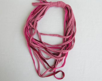Pink cotton scarf-necklace, Pink cotton necklace, Pink cotton scarf, Pink fabric cord scarf, Infinity necklace,Multistrand necklace