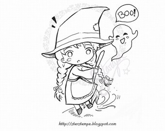 Little Halloween Witch - DIGITAL STAMP Instant Download for Cards & Crafts