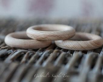 Beech Wood Ring, 4 cm, 5,6 cm. Wood Ring for Teething, Doll Making, Toy Making, Teether, Wooden Teether, Wooden Teething Ring