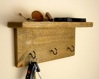 Wood Key Holder with Shelf