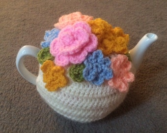 Pastel Floral Tea cosy for a medium or large teapot cups cozy handmade crochet teapot cover