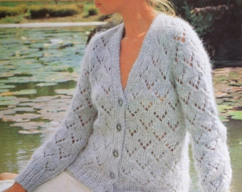 Vintage knitting pattern chunky lacy look cardigan pdf INSTANT download pattern only 1980s