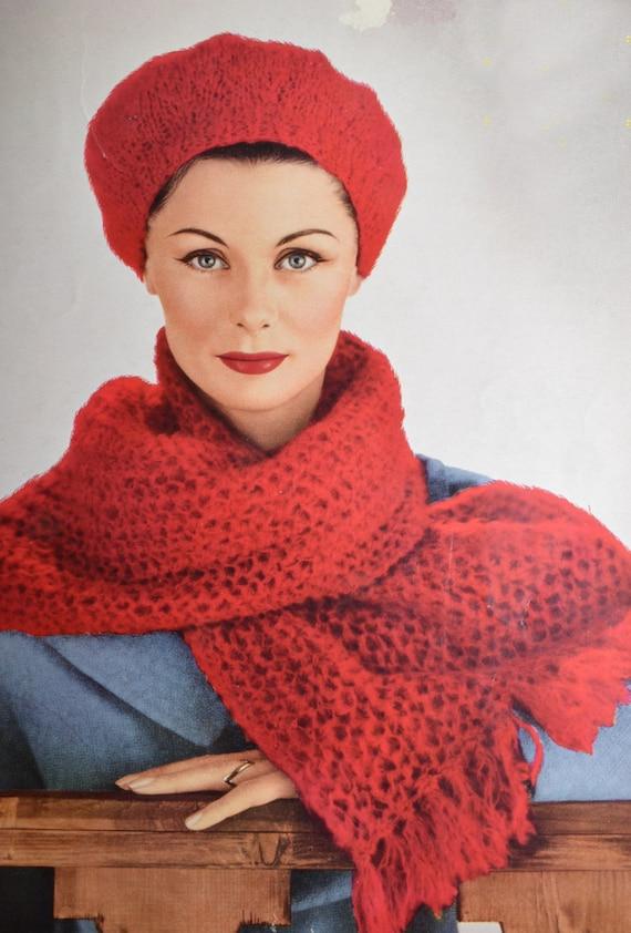 Vintage Knitting Pattern Beret : PDF beret and scarf ladys vintage knitting pattern pdf INSTANT download ...