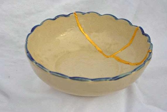 Antique Australian Mint Kintsugi Bowl  Mended with Gold Seams