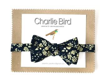 Flowered Charlie Bird bow tie on Liberty