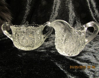 Vintage Pressed Glass Creamer & Sugar Set