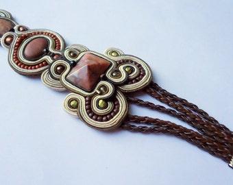 Soutache bracelet Beige - Brown