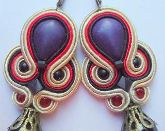 Soutache Earrings Beige - Red