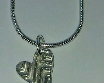 Silver Metal Clay Heart Pendent