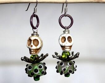 Steampunk Lampwork Skull Green Dangle Earrings - Halloween Earrings - Sterling Silver Drop Earrings