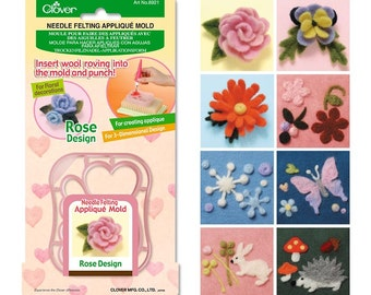 Clover Needle Felting Appliqué Mold - Choose 1 out of 8 designs - Ship from USA