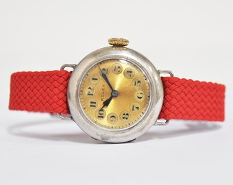 1924 Vintage Rolex Silver Officers Watch