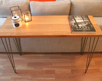 Console solid wood and steel hairpin legs