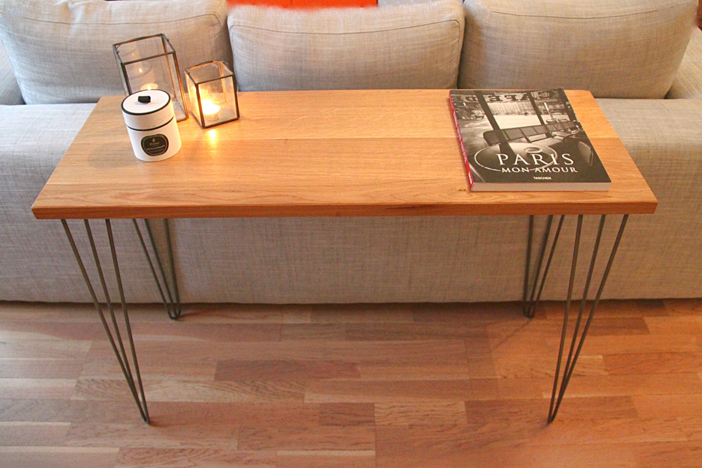 console design bois et pieds m tal en pingle. Black Bedroom Furniture Sets. Home Design Ideas