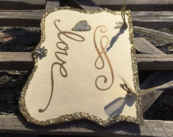 Gold Love Wedding Sign, Glitter Bridal Shower Sign, Gold Engagement, Photo Booth Prop Love Sign, Love Home Decor, Reception Decor, Gold Love
