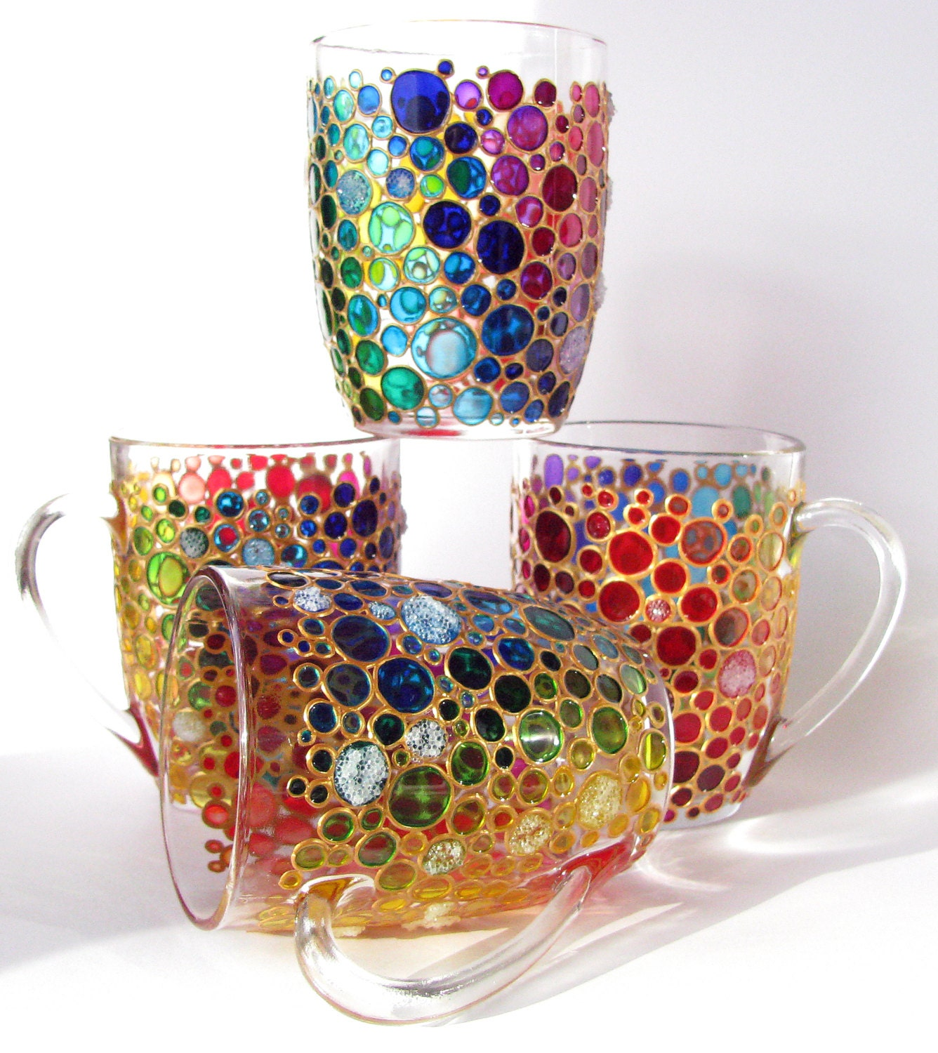 84fe688fb7d Set Of 4 Hand Painted Suncatcher Coffee Mugs Multi Coloured