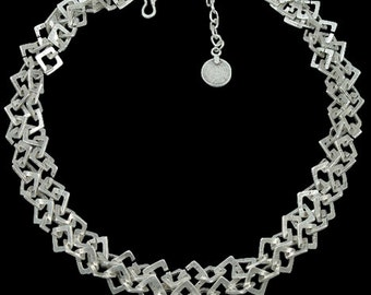 Silver Plated Squares Necklace