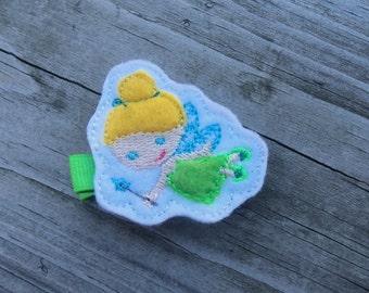 Princess inspired Tinkerbell Hair Clip-Fairy Hair Bow-No Slip Grip-Toddler Hair Clips-Felt Hair Clip-Baby Hair Clip-Hair Clippies