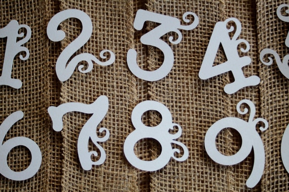 12 large number letter die cuts cupcake toppers tags for Large letter die cuts