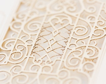 Laser Cut Romantic Gate Wedding Invitation Card _ Unique Wedding Invitations _ Laser Cut Invitation with Custom Initials