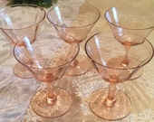Pink Depression Glass Dessert Bowls or Water Goblets Set of 5 Vintage Depression Glass