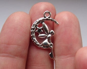 8 Fairy Moon Charms Antique Silver  25 x 15mm - SC028