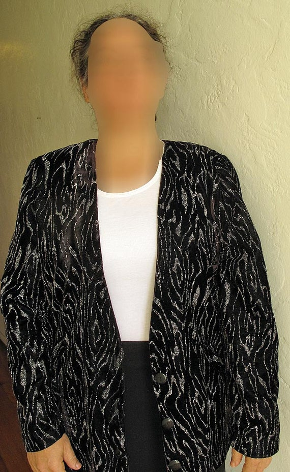 Vintage black evening jacket, size 12 jacket, womens black jacket, 80s jacket, sparkly black velveteen, black velvet jacket, womens size 12