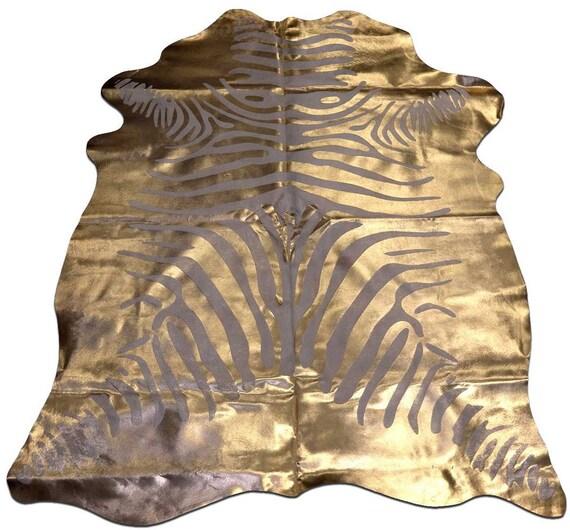 H-16 Gold Metallic Zebra Cowhide Rug 7' X 5.5' By Cowhidesusa
