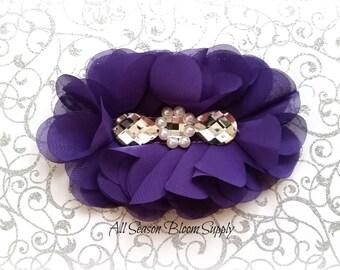 "Purple Flowers - Beaded Chrystal Chiffon Flower - Fabric Flower - Pearl Chrystal Flowers - Rosettes - Headband - Supplies - DIY- 5"""