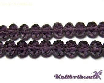 25x Faceted Glass Briolette Beads Rondelle Beads 6mm - Purple